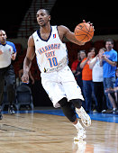 Oklahoma City Blue Marquis Teague dribbles the ball during an NBA DLeague game on November 30 2014 at the Cox Convention Center in Oklahoma City...