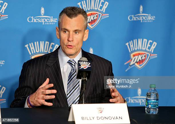 Oklahoma City Head Coach Billy Donovan is welcomed to Chesapeake Energy Arena for the first time on May 01 2015 at the Chesapeake Energy Arena in...
