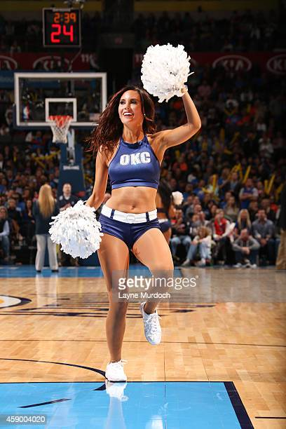 Oklahoma City Thunder dancer performs during the game on November 14 2014 at Chesapeake Energy Arena in Oklahoma City OK NOTE TO USER User expressly...