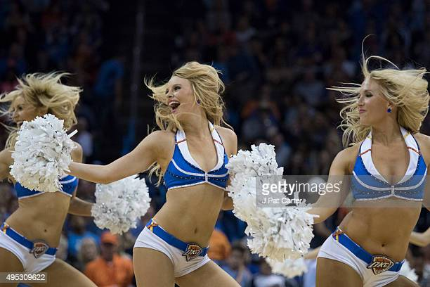 Oklahoma City Thunder dancers entertain fans during the fourth quarter of a NBA game against the San Antonio Spurs at the Chesapeake Energy Center on...