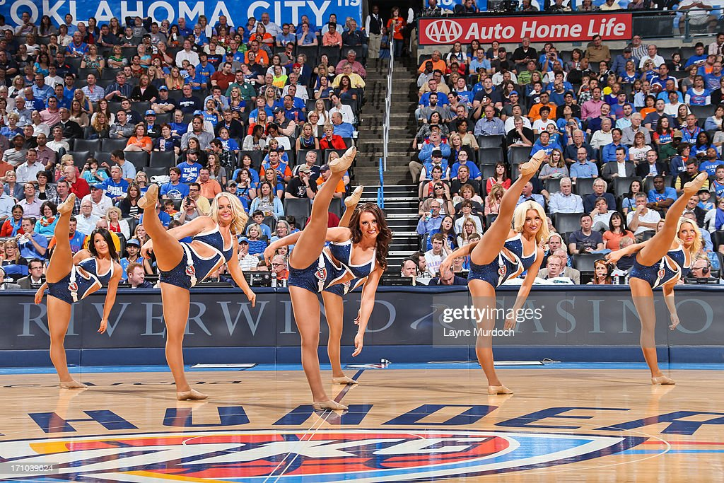 Oklahoma City Thunder dancers perform as the team plays against the Sacramento Kings on April 15, 2013 at the Chesapeake Energy Arena in Oklahoma City, Oklahoma.