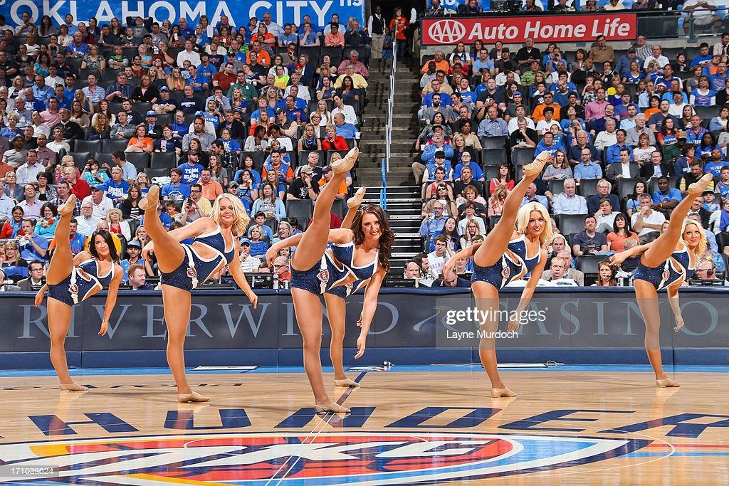 Oklahoma City Thunder dancers perform as the team plays against the Sacramento Kings on April 15, 2013 at the Chesapeake Energy Arena in Oklahoma City, Oklahoma.