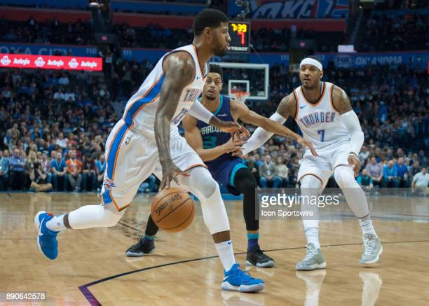 Oklahoma City Thunder Forward Paul George making a move towards the basket versus Charlotte Hornets on December 11 2017 at the Chesapeake Energy...