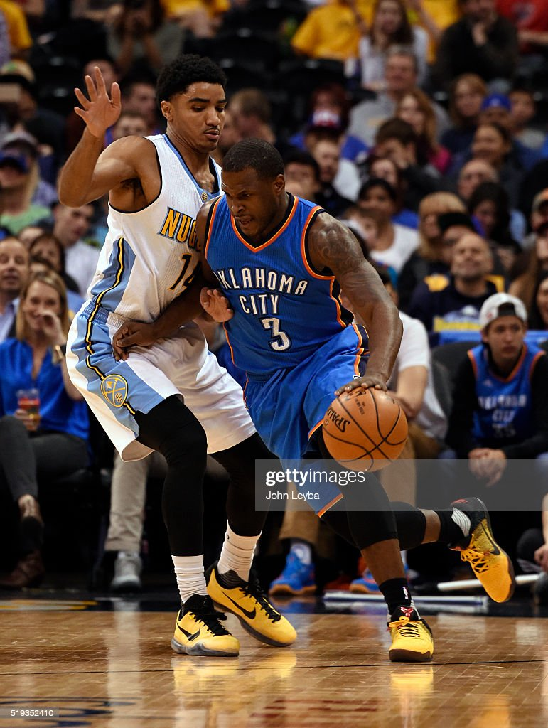 Oklahoma City Thunder guard <a gi-track='captionPersonalityLinkClicked' href=/galleries/search?phrase=Dion+Waiters&family=editorial&specificpeople=6902921 ng-click='$event.stopPropagation()'>Dion Waiters</a> (3) drives around Denver Nuggets guard <a gi-track='captionPersonalityLinkClicked' href=/galleries/search?phrase=Gary+Harris+-+Basketball+Player&family=editorial&specificpeople=10612733 ng-click='$event.stopPropagation()'>Gary Harris</a> (14) during the first quarter April 5, 2016 at Pepsi Center.
