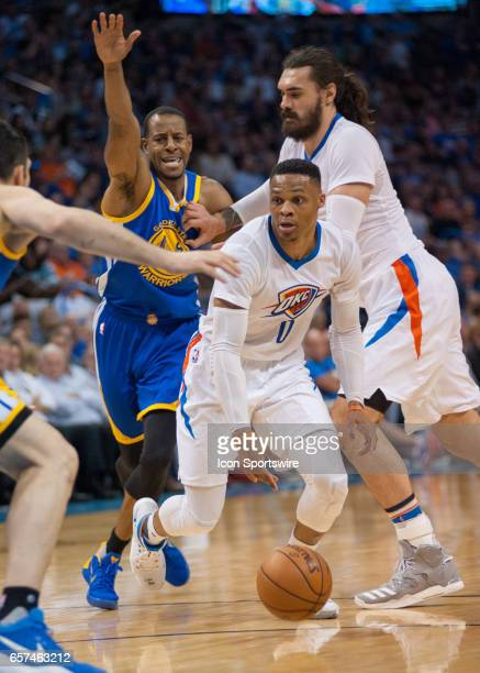 Oklahoma City Thunder Guard Russell Westbrook driving the lane versus Golden State Warriors on March 20 at the Chesapeake Energy Arena Oklahoma City...