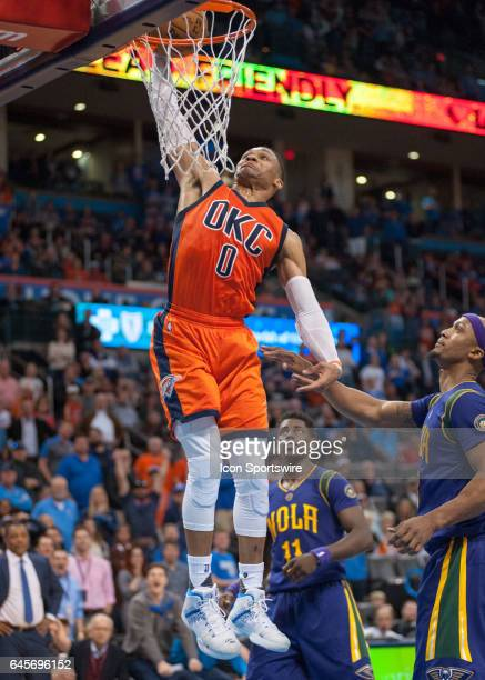 Oklahoma City Thunder Guard Russell Westbrook dunking the ball versus New Orleans Pelicans on February 26 at the Chesapeake Energy Arena Oklahoma...
