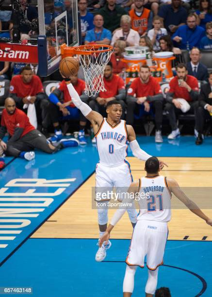 Oklahoma City Thunder Guard Russell Westbrook getting a rebound versus Phildelphia 76ers on March 22 at the Chesapeake Energy Arena Oklahoma City OK