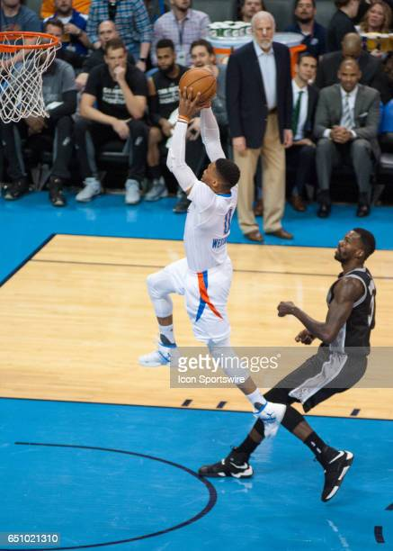 Oklahoma City Thunder Guard Russell Westbrook going up for a dunk versus San Antonio on March 09 at the Chesapeake Energy Arena Oklahoma City OK