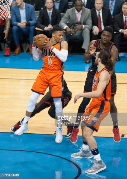 Oklahoma City Thunder Guard Russell Westbrook grabbing a rebound versus Houston Rockets during the game 4 of the first round of the NBA Western...