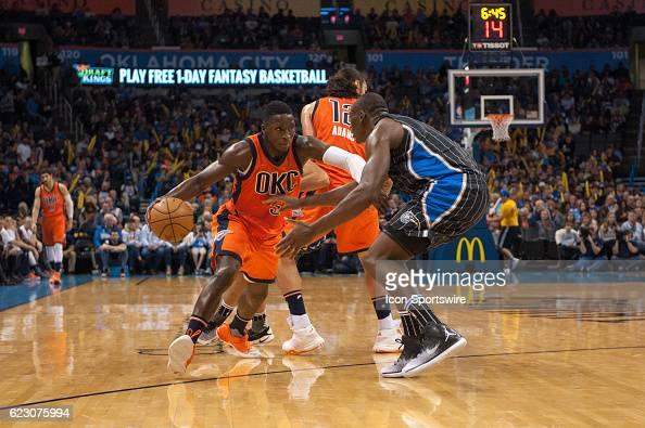 Oklahoma City Thunder Guard Victor Oladipo making a mover towards the basket versus Orlando Magic on November 13 at the Chesapeake Energy Arena...