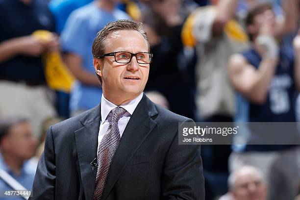 Oklahoma City Thunder head coach Scott Brooks looks on against the Memphis Grizzlies during Game Six of the Western Conference Quarterfinals of the...