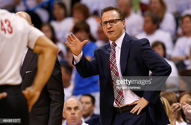 Oklahoma City Thunder head coach Scott Brooks waits on the court in the second half against the San Antonio Spurs during Game Six of the Western...