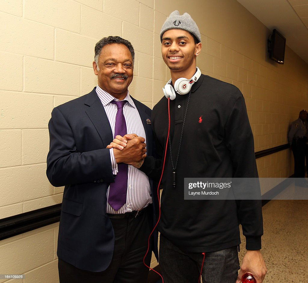 Oklahoma City Thunder player Jeremy Lamb #11 greets Reverend Jesse Jackson after the Thunder played the Denver Nuggets on March 19, 2013 at the Chesapeake Energy Arena in Oklahoma City, Oklahoma.