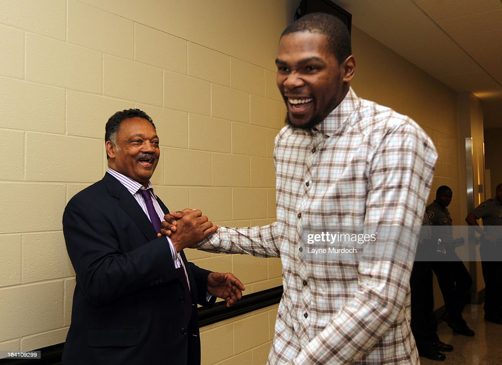 Oklahoma City Thunder player Kevin Durant #35 greets Reverend Jesse Jackson after the Thunder played the Denver Nuggets on March 19, 2013 at the Chesapeake Energy Arena in Oklahoma City, Oklahoma.
