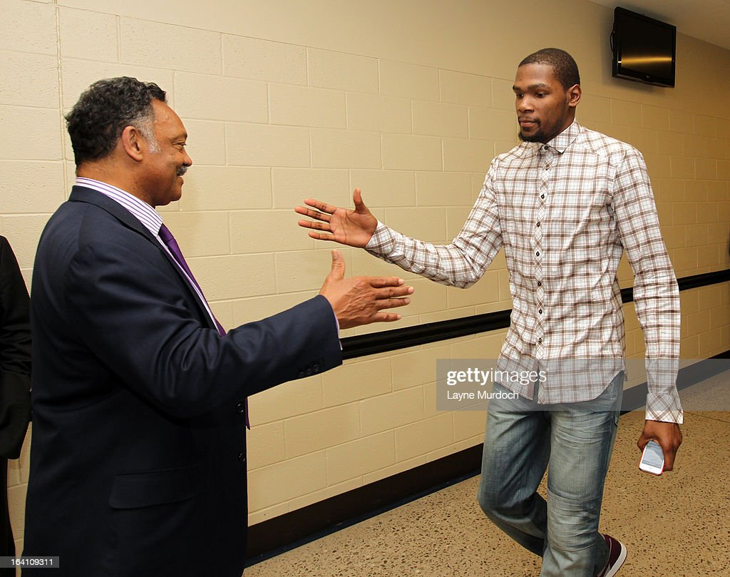 Oklahoma City Thunder player Kevin Durant greets Reverend Jesse Jackson after the Thunder played the Denver Nuggets on March 19, 2013 at the Chesapeake Energy Arena in Oklahoma City, Oklahoma.