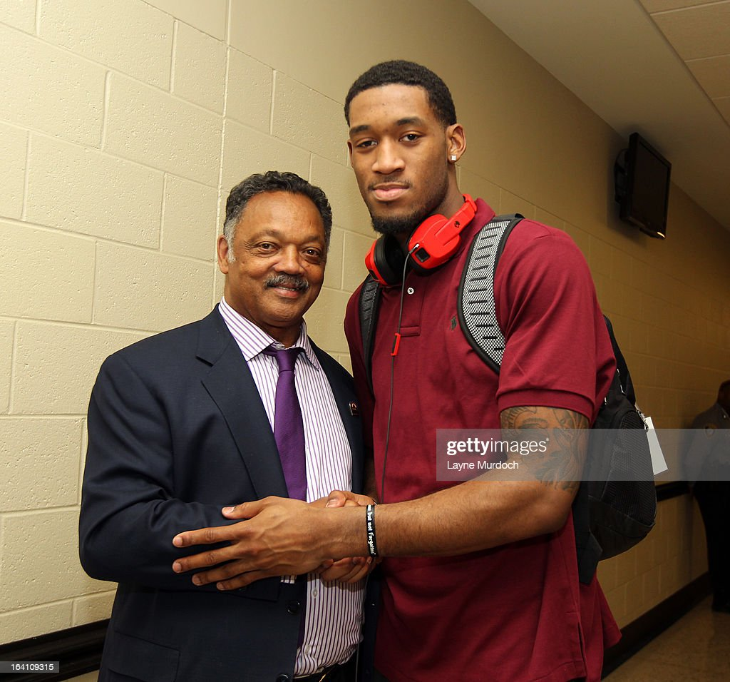 Oklahoma City Thunder player Perry Jones lll #3 greets Reverend Jesse Jackson after the Thunder played the Denver Nuggets on March 19, 2013 at the Chesapeake Energy Arena in Oklahoma City, Oklahoma.