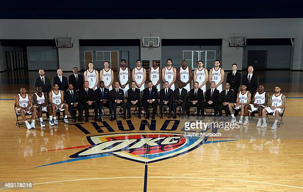 Oklahoma City Thunder players coaches and staff pose for the 2015 team photo on April 9 2015 at the Integris Health Thunder Development Center in...