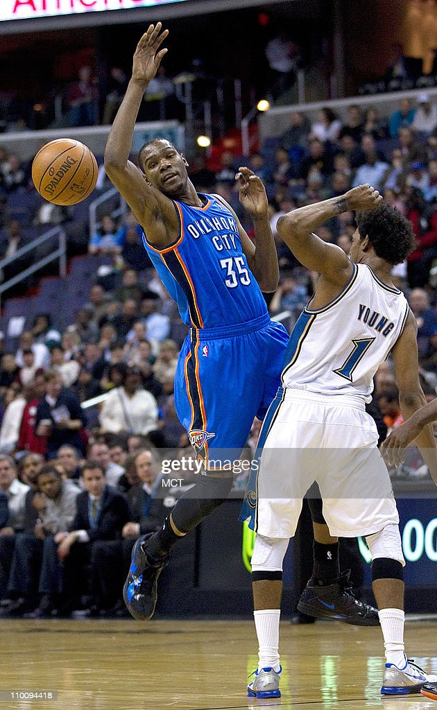 Oklahoma City Thunder small forward Kevin Durant (35) looses the ball after being fouled by Washington Wizards shooting guard Nick Young (1) during their game played at the Verizon Center in Washington, D.C., Monday, March 14, 2011.