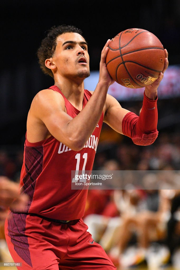 Oklahoma guard Trae Young (11) shoots a free throw during an college basketball game between the Oklahoma Sooners and the USC Trojans in the Basketball Hall of Fame Classic on December 8, 2017 at STAPLES Center in Los Angeles, CA.