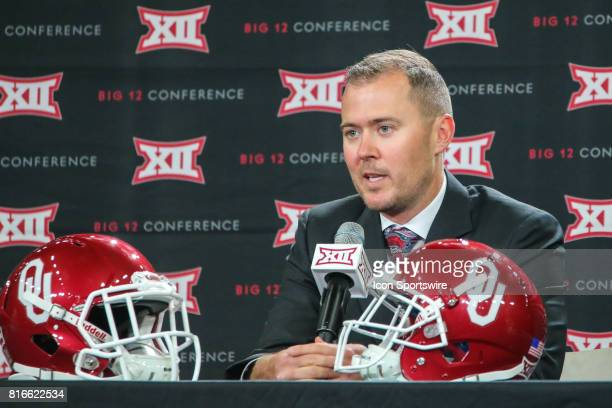 Oklahoma head coach Lincoln Riley speaks during the Big 12 Conference Football Media Days on July 17 2017 at Ford Center at The Star in Frisco Texas