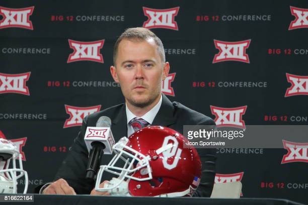 Oklahoma head coach Lincoln Riley takes questions during the Big 12 Conference Football Media Days on July 17 2017 at Ford Center at The Star in...