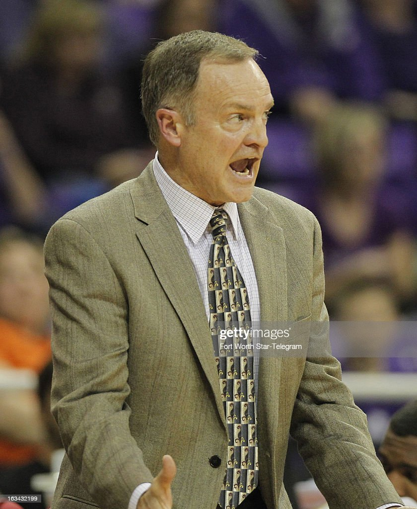 Oklahoma head coach Lon Kruger yells at his team in the first half against Texas Christian at Daniel-Meyer Coliseum in Fort Worth, Texas, on Saturday, March 9, 2013. TCU prevailed, 70-67.
