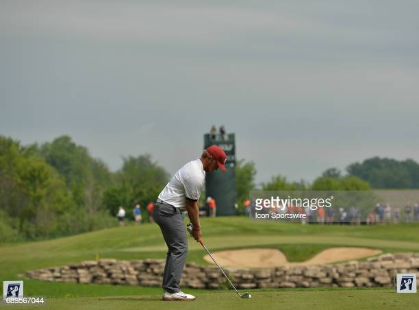 Oklahoma Sooners Brad Dalke plays the ball from the fifth tee during round 3 of the Division I Men's Golf Championships on May 28 2017 at Rich...