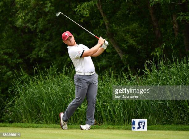 Oklahoma Sooners Brad Dalke plays the ball from the ninth tee during round 3 of the Division I Men's Golf Championships on May 28 2017 at Rich...