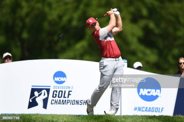 Oklahoma Sooners Brad Dalke tees off at the first hole during the final round of the NCAA Division I Men's Golf Championship on May 31 at Rich...