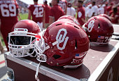 Oklahoma Sooners helmets before the game against the Tulsa Golden Hurricane September 19 2015 at Gaylord FamilyOklahoma Memorial Stadium in Norman...