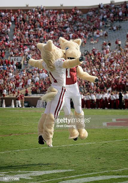 Oklahoma Sooners' mascots Boomer and Sooner chest bump before the game against the Tulsa Golden Hurricane September 14 2013 at Gaylord FamilyOklahoma...