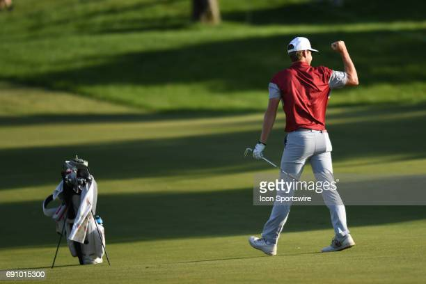 Oklahoma Sooners Rylee Reinertson celebrates after hitting from the fairway against the Oregon Ducks on the 17th hole during the final round of the...
