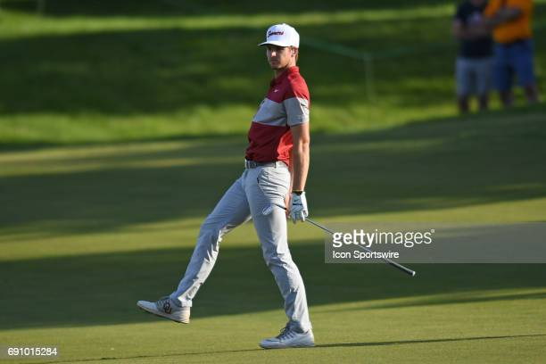 Oklahoma Sooners Rylee Reinertson hits from the fairway against the Oregon Ducks on the 17th hole during the final round of the NCAA Division I Men's...