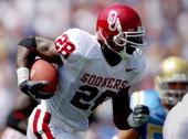 Oklahoma sophomore running back Adrian Peterson heads up field during 4124 loss to UCLA at the Rose Bowl in Pasadena Calif on Saturday Sept 17 2005