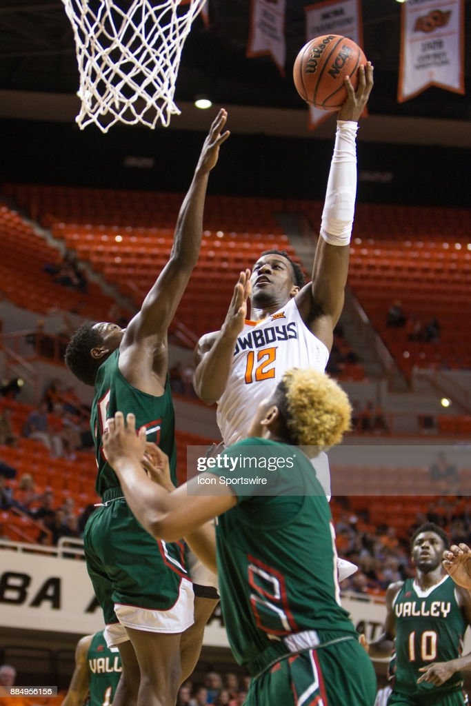 Oklahoma State Cowboys forward Cameron McGriff (12) during the college division 1 mens basketball game between the Mississippi Valley State Delta Devils and the Oklahoma State Cowboys on December 3, 2017 at Gallagher-Iba arena in Stillwater, Oklahoma.