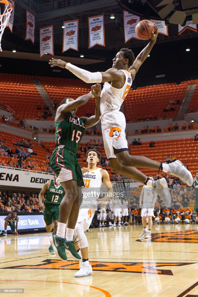 Oklahoma State Cowboys forward Cameron McGriff (12) goes up for a dunk during the college division 1 mens basketball game between the Mississippi Valley State Delta Devils and the Oklahoma State Cowboys on December 3, 2017 at Gallagher-Iba arena in Stillwater, Oklahoma.