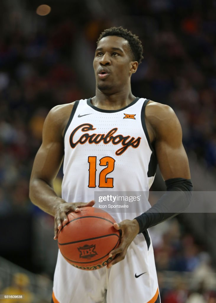 Oklahoma State Cowboys forward Cameron McGriff (12) prepares to shoot a free throw in the second half of a first round matchup in the Big 12 Basketball Championship between the Oklahoma Sooners and Oklahoma State Cowboys on March 7, 2018 at Sprint Center in Kansas City, MO. Oklahoma State won 71-60.