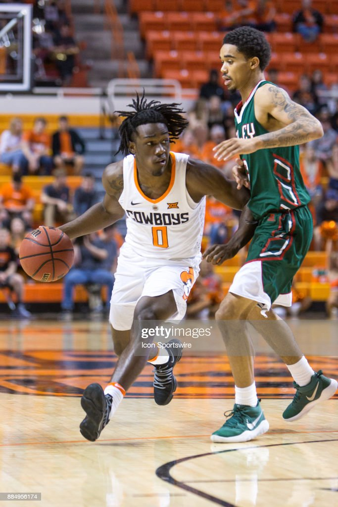Oklahoma State Cowboys guard Brandon Averette (0) during the college division 1 mens basketball game between the Mississippi Valley State Delta Devils and the Oklahoma State Cowboys on December 3, 2017 at Gallagher-Iba arena in Stillwater, Oklahoma.