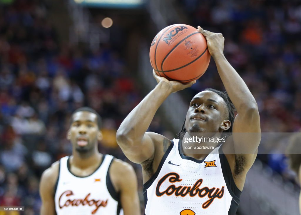 Oklahoma State Cowboys guard Brandon Averette (0) shoots a free throw in the second half of a first round matchup in the Big 12 Basketball Championship between the Oklahoma Sooners and Oklahoma State Cowboys on March 7, 2018 at Sprint Center in Kansas City, MO. Oklahoma State won 71-60.