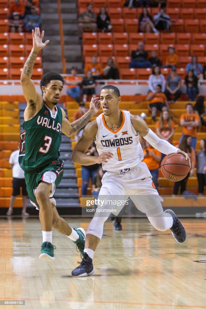Oklahoma State Cowboys guard Kendall Smith (1) during the college division 1 mens basketball game between the Mississippi Valley State Delta Devils and the Oklahoma State Cowboys on December 3, 2017 at Gallagher-Iba arena in Stillwater, Oklahoma.