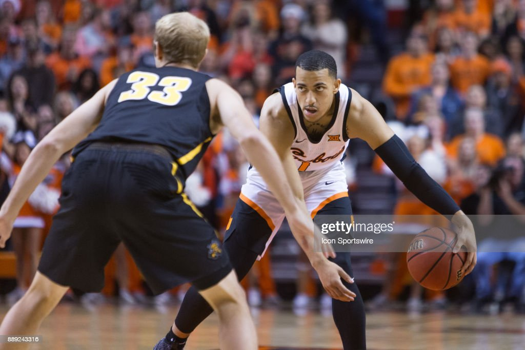 Oklahoma State Cowboys guard Kendall Smith (1) during the college mens basketball game between the Wichita State Shockers and the Oklahoma State Cowboys on December 9, 2017 at Gallagher-Iba Arena in Stillwater, Oklahoma.