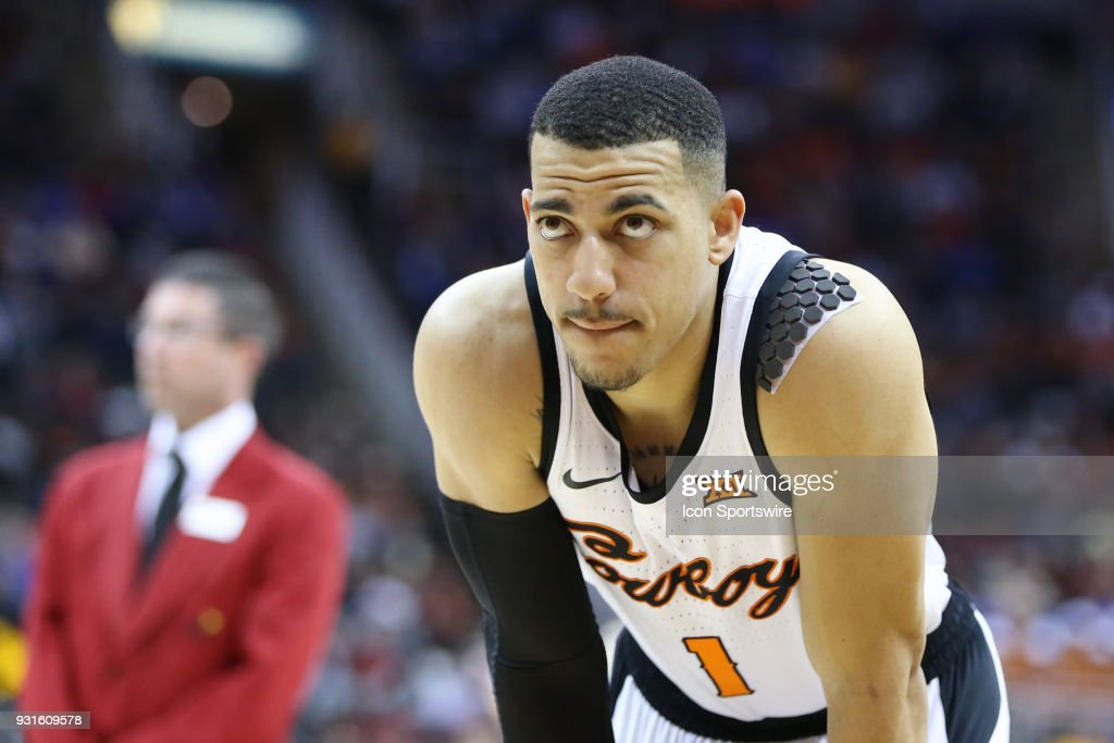 Oklahoma State Cowboys guard Kendall Smith (1) in the second half of a first round matchup in the Big 12 Basketball Championship between the Oklahoma Sooners and Oklahoma State Cowboys on March 7, 2018 at Sprint Center in Kansas City, MO. Oklahoma State won 71-60.
