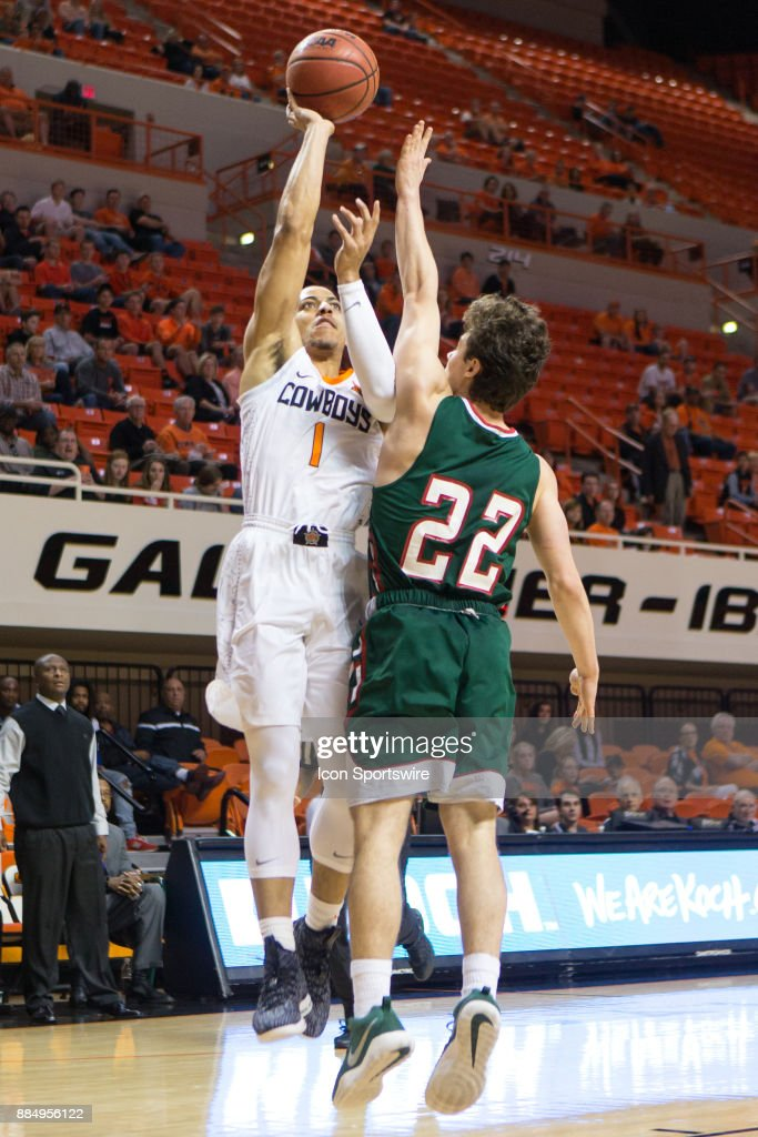 Oklahoma State Cowboys guard Kendall Smith (1) puts up a shot during the college division 1 mens basketball game between the Mississippi Valley State Delta Devils and the Oklahoma State Cowboys on December 3, 2017 at Gallagher-Iba arena in Stillwater, Oklahoma.