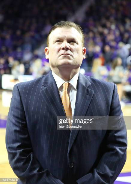 Oklahoma State Cowboys head coach Brad Underwood before a Big 12 matchup between the Oklahoma State Cowboys and Kansas State Wildcats on February 22...