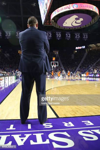 Oklahoma State Cowboys head coach Brad Underwood looks on from the sideline in the first half of a Big 12 matchup between the Oklahoma State Cowboys...