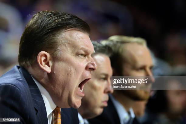 Oklahoma State Cowboys head coach Brad Underwood shouts instructions to his team in the first half of a Big 12 matchup between the Oklahoma State...