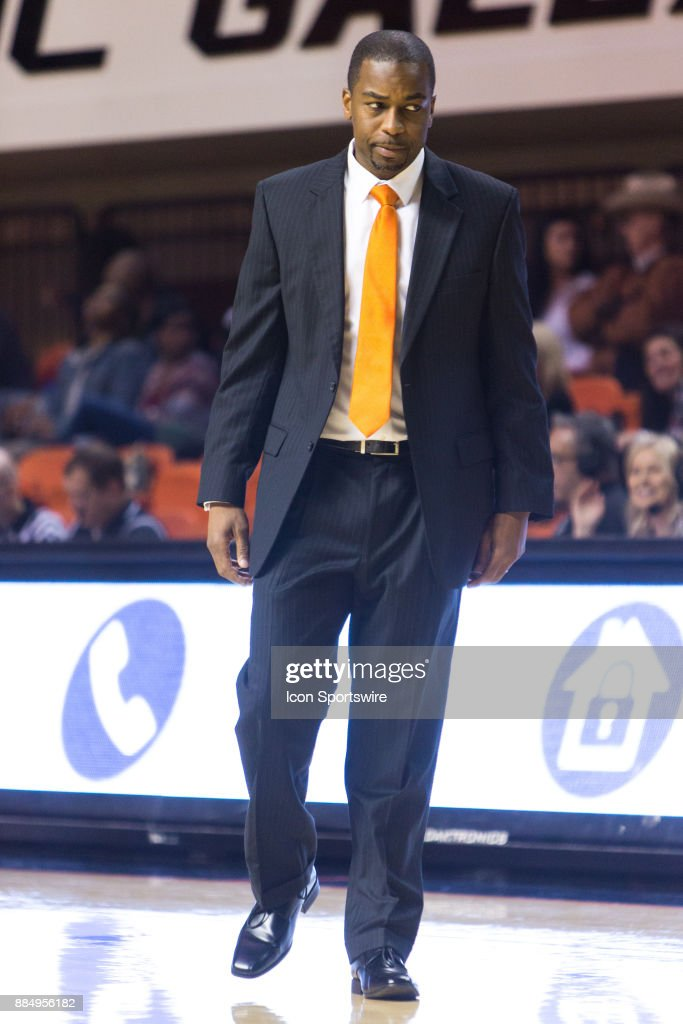 Oklahoma State Cowboys head coach Mike Boynton during the college division 1 mens basketball game between the Mississippi Valley State Delta Devils and the Oklahoma State Cowboys on December 3, 2017 at Gallagher-Iba arena in Stillwater, Oklahoma.