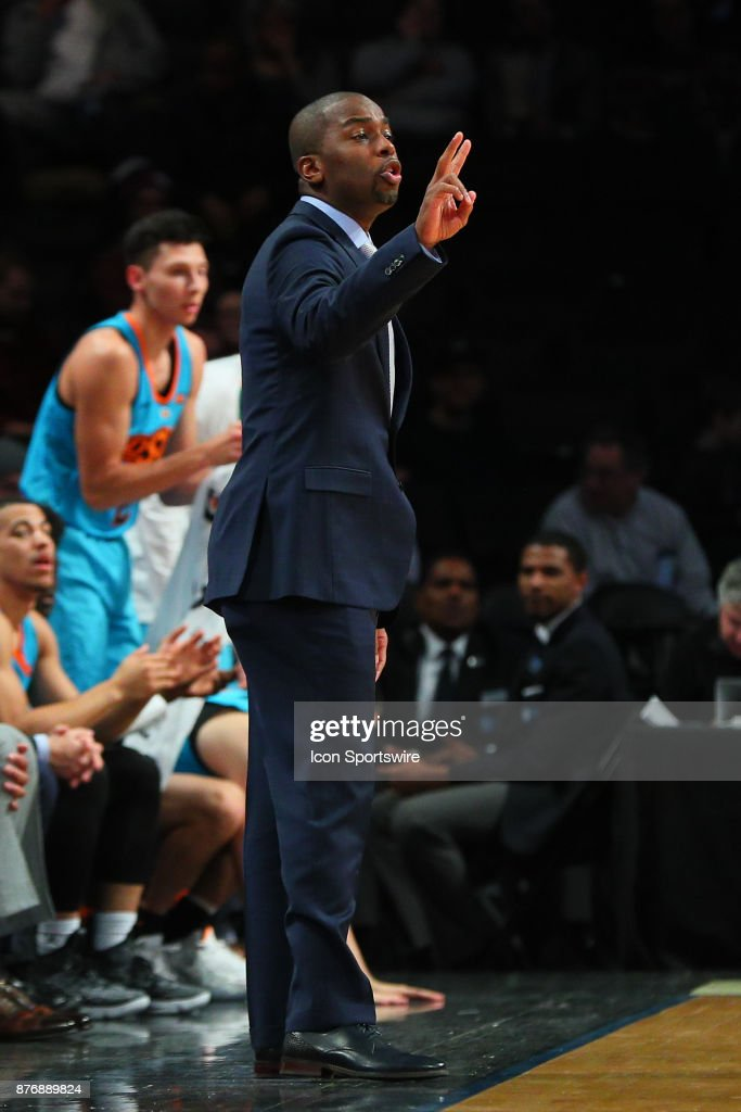 Oklahoma State Cowboys head coach Mike Boynton during the first half of the Legends Classic College Basketball game between the Oklahoma State Cowboys and the Texas A&M Aggies on November 20, 2017, at the Barclays Center in Brooklyn, NY.