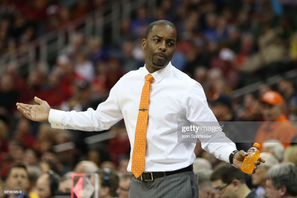 Oklahoma State Cowboys head coach Mike Boynton in the second half of a first round matchup in the Big 12 Basketball Championship between the Oklahoma Sooners and Oklahoma State Cowboys on March 7, 2018 at Sprint Center in Kansas City, MO. Oklahoma State won 71-60.