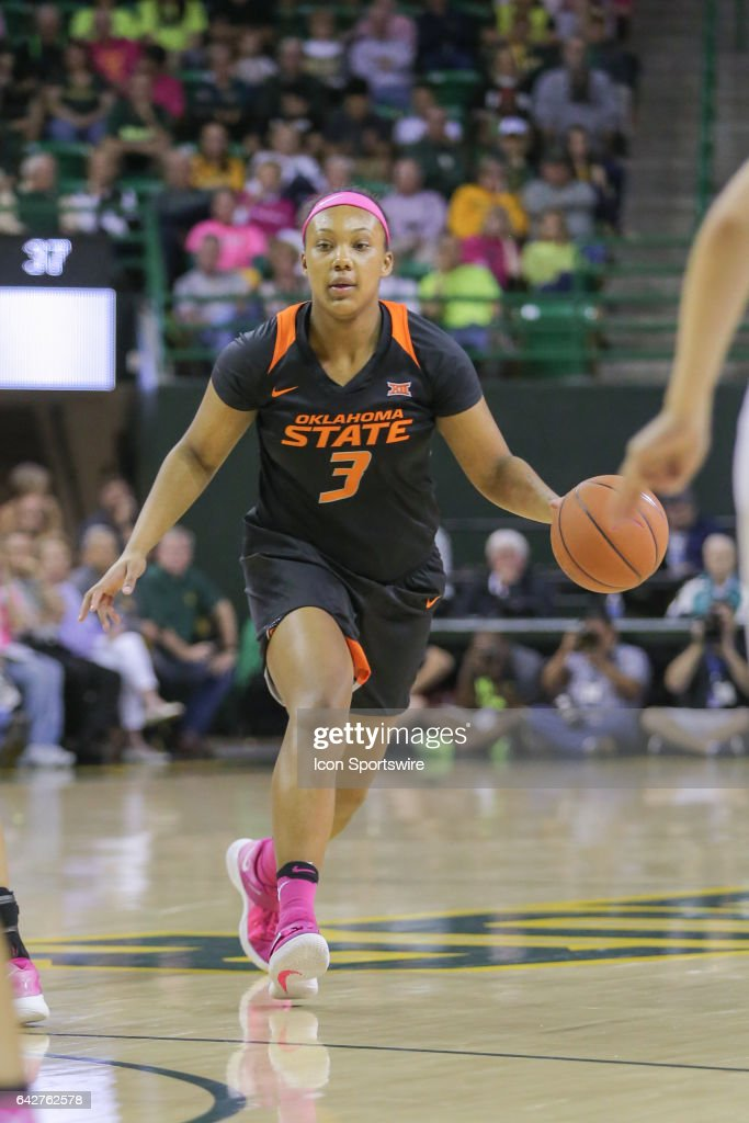 Oklahoma State Cowgirls forward/center Mandy Coleman (3) brings the ball up court during the women's basketball game between Baylor and Oklahoma State on February 18, 2017, at the Ferrell Center in Waco, TX.